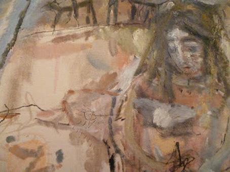 Η Παντέρμηκεντήστρα του Λόρκα. Λεπτομέρεια από πίνακα της Φωτεινής Στεφανίδη. Λάδι, μελάνι και παστέλ σε (αχερόχρωμο)  πανί